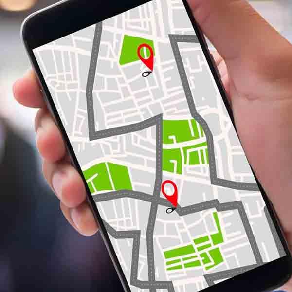 Gps no celular mostrando caminho do passeio